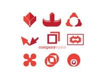 Logo elements set red orange Stock Photos
