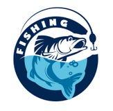 Logo eller emblem för att fiska klubban också vektor för coreldrawillustration Arkivbilder