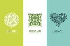 Logo- eller etikettbegreppet med gräsplansidor i cirkel, fyrkant och hjärta formar Organiska beståndsdelar för ecoproduktdesign stock illustrationer