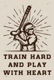 Logo, emblème, insigne avec le slogan et motivation de base-ball de vintage Photographie stock