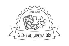 Logo and emblem for the chemical, medical, research laboratories, businesses, industries and products. Isolated image. Vector Royalty Free Stock Photos