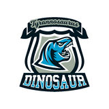 Logo, emblem of dinosaur, Jurassic period. Vector illustration, printing on T-shirts. Royalty Free Stock Photos