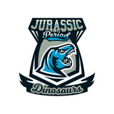Logo, emblem of dinosaur, Jurassic period. Vector illustration, printing on T-shirts. Stock Photography
