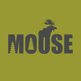 Logo, emblem Moose Silhouette with text. Wild animal  illu Stock Image