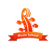 Logo Emblem for Music School. With Illustration of Fiddle`s Head or Cello Royalty Free Stock Photo