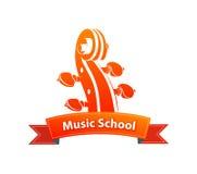 Logo Emblem per la scuola di musica Fotografia Stock Libera da Diritti