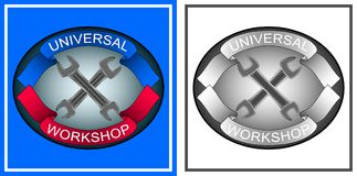 Logo, emblem of repair shop with tools, wrench, red and blue ribbons, on blue background. And also black-and-white option. Vector Illustration Stock Image