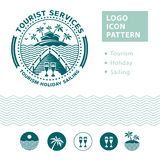 Logo emblem for tourism and recreation. Royalty Free Stock Image