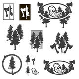 Logo or emblem with trees or forest ranger. Stock Photo