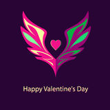 Logo, emblem with wings and heart. Shades of pink Royalty Free Stock Image