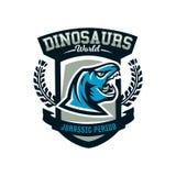 Logo, emblemat dinosaur, Jurajski okres Wektorowa ilustracja, drukuje na koszulkach Fotografia Stock
