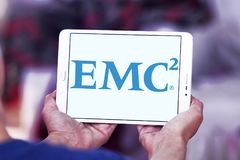 EMC2 data storage company logo. Logo of EMC2 data storage company on samsung tablet . Dell EMC is an American multinational corporation. It sells data storage Stock Photos