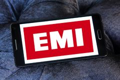 EMI Records logo. Logo of EMI Records company on samsung mobile. EMI Records is a British multinational conglomerate founded in March 1931 and was based in royalty free illustration