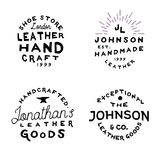 Logo en cuir de vintage d'atelier de marchandises, illustration de vecteur Photo stock