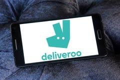 Logo en ligne de société de livraison de nourriture de Deliveroo image stock