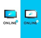 Logo en ligne de vecteur de TV Media d'Internet Vecteur en ligne l d'émission Photographie stock