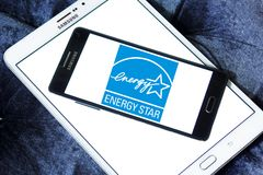 Energy Star logo. Logo of Energy Star on samsung mobile. Energy Star is a voluntary program launched by the U.S. Environmental Protection Agency EPA that helps royalty free stock photo