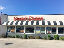 Logo entrance of Steak and Shake fast-food chain in Texas, USA. LEWISVILLE, TX, USA-SEP 2, 2018:Facade of Steak n Shake, an American casual restaurant chain with stock image