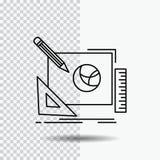 Logo, Entwurf, kreativ, Idee, Designprozess Linie Ikone auf transparentem Hintergrund Schwarze Ikonenvektorillustration lizenzfreie abbildung