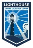 Logo ENV di forma dell'accademia di Lighthous illustrazione di stock