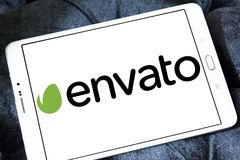 Envato company logo. Logo of Envato company on samsung tablet. Envato operates a group of digital marketplaces that sell creative assets for web designers Royalty Free Stock Photography