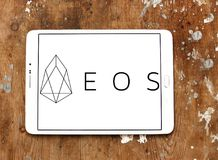 EOS Cryptocurrency logo. Logo of EOS Cryptocurrency on samsung tablet royalty free stock photo