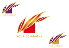 Logo_epi. Logo stylized corn cobs - or beautiful flame in red or purple - vector Stock Images