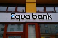 Logo Equa Bank in Prague stock photography