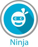 Logo et calibre de bande dessinée de Ninja illustration stock