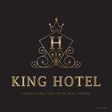 Logo et graphiques du Roi Hotel Images libres de droits
