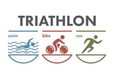 Logo et icône de triathlon Nageant, faisant un cycle, symboles fonctionnants Photo libre de droits