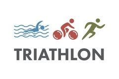Logo et icône de triathlon Nageant, faisant un cycle, symboles fonctionnants Image stock