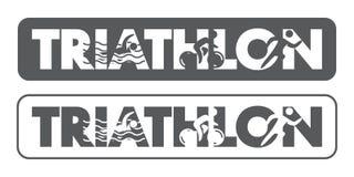Logo et icône de triathlon Nageant, faisant un cycle, symboles fonctionnants Images stock