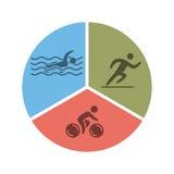Logo et icône de triathlon Nageant, faisant un cycle, symboles fonctionnants Photos stock