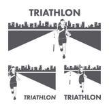 Logo et icône du triathlon des femmes Silhouettes des chiffres triathle Image stock