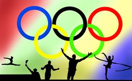 Logo et jeux olympiques image stock