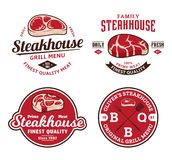 Logo et labels de grill ou de magasin de viande illustration libre de droits