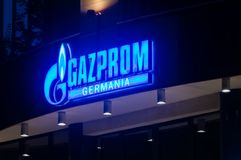 Logo et signe de Gazprom Germania photos libres de droits