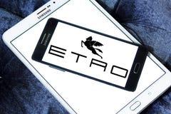 Etro fashion brand logo. Logo of Etro fashion brand on samsung mobile. Etro is an Italian fashion house stock photos