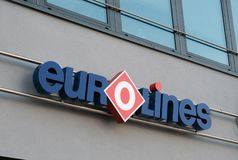 Logo of the Eurolines company. Berlin, Germany - August 17, 2017: Eurolines signage. The Belgian company operates a transnational network, connecting 600 Royalty Free Stock Photos