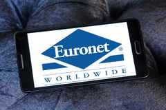 Euronet Worldwide financial services company logo. Logo of Euronet company on samsung mobile. Euronet Worldwide is a US provider of electronic payment services stock photo
