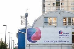 Logo of Europ Assistance in front of its office for Belgrade. Europ Assistance is French group specialized in travel assistance. Picture of a sign with the Europ royalty free stock images