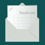 Logo evelope. Open envelope with sheet for logo and sample text Stock Photo