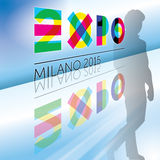 Logo Expo 2015 graphic elaboration. Original graphic elaboration logo Expo 2015, Italy Stock Illustration
