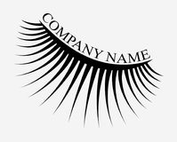 Logo of eyelashes. Stylized hair. Abstract lines of triangular shape. Black and white vector illustration. Logo of eyelashes. Stylized hair. Abstract lines of Vector Illustration
