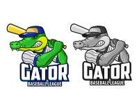 Logo fâché de mascotte de bande dessinée d'alligator de base-ball Images libres de droits