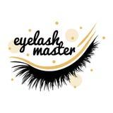 Logo för ögonfransförlängningsvektor Ögonfransförlage, tillverkare royaltyfri illustrationer