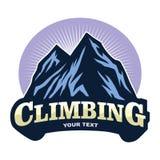 Logo för affärsföretag för bergklättring som campar, expedition Tappningvektorlogo och etiketter, symbolsmalldesign royaltyfri illustrationer