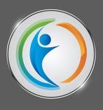 Logo för affärsfolk Anslutning människa i en skenmedalj stock illustrationer