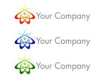 logo för atomdesignsymbol royaltyfri illustrationer